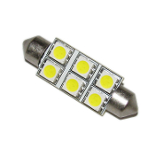 T10*42mm / Festoon 42mm, 6-SMD (5050) Bulbs White (ea)