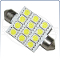 T10*42 / Festoon 42mm, 12-SMD (5050) Bulb, White (ea)