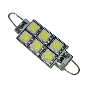 T10*42mm / Festoon 42mm Loop, 6-SMD (5050) Bulbs White (ea)